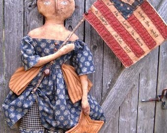 Primitive Americana Doll PATTERN Liberty PDF Primitive Doll Grungy Extreme Prim Tea Dye Antique Aged Fourth of July