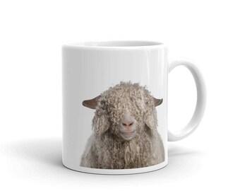 Curly SHEEP Mug, Wool Animal Gifts, Ceramic Mug, Coffee Mug, Tea mug, Sheep Nursery Art Print Mug, Country Farmhouse Decor, Coffee Gifts