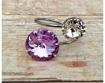Swarovski Crystal Ring, Violet Ring, Adjustable Ring, Purple Ring, Sparkly Ring, Bling Ring, Stainless Steel Ring, Hypoallergenic