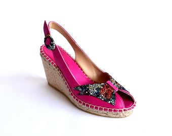 ORCHID BUTTERFLY - Peep toe wedge sandals, espadrille, womens shoes, pink or orchid color, butterfly motif, Spring Summer NOGUERON offer