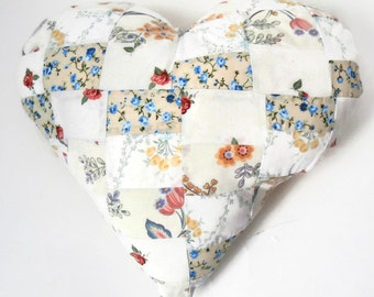 """Floral Country Chic 14"""" Handmade Stuffed Heart Cushion / For the home / Home Decor / Throw Pillow / Modern Pillow"""