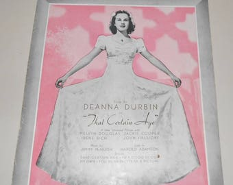 1938 Deanna Durbin Sheet Music ~ My Own ~ From That Certain Age