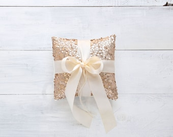Wedding Ring Bearer Pillow - Champagne & Ivory - Ring Pillow, Ring Bearer Pillow, Wedding Pillow, Champagne Gold Sequin Ring Pillow
