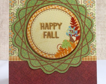 Fall Card- Happy Fall- Autumn Colors- Handmade Cards- Clearance- Just Because