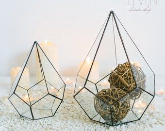 Glass geometric Terrarium - Handmade Geometric Terrarium - Glass drop - Glass Planter- Home decor - Wedding table decor