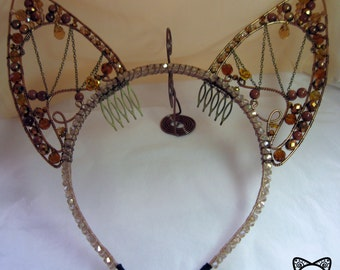 Crystal and pearls cat ears hair band brown and gold