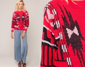 Geometric Sweater 80s Tribal Print Knit Jumper 1980s Hipster Statement Vintage Pullover Acrylic Knit Sweater Retro Extra Large xl
