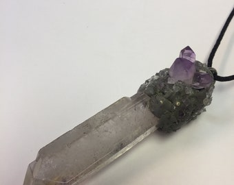 Quartz Point with Amethyst Chips and Amethyst Point Cluster in Silver by oldmanwithers