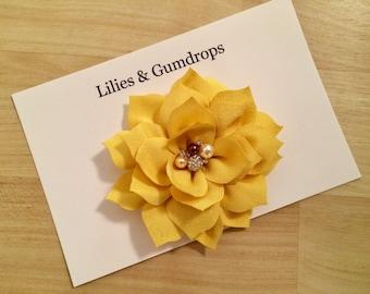 Yellow Flower Hair Clip - Wedding Hair Flower - Mustard Yellow Hair Flower - Sunflower Hair Clip