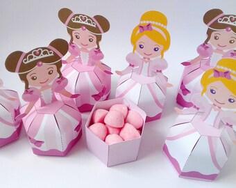 Printable princess favor box Diy favor box Printable birthday