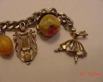 Vintage  -- Charms Only Bracelet Broken -- Ballerinas  Grand Piano & Lyre  16 - 832