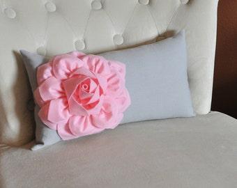 Decorative Lumbar Pillow Light Pink Dahlia on Gray Lumbar Pillow 9 x 16 - Nursery Pillow - Home Decor -