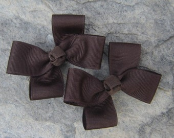 Brown Hair Bows,Pigtail Hair Bows,Alligator Clips,3 Inches Wide,Non Slip Hair Bows,Hair Clippies