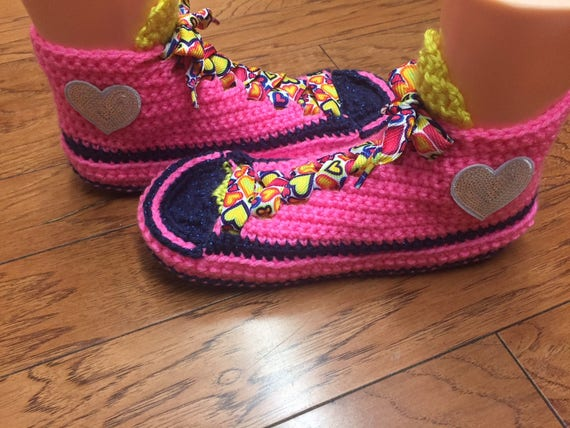 965c7a8921a178 ... slippers 10 pink sneakers sneaker Crocheted slippers slippers Listing  neon heart shoes Womens tennis pink house ...
