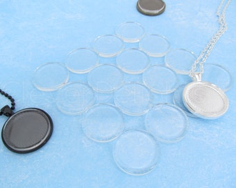 """40 - 1"""" Round Glass Tiles - Flat on Both Sides - Clear Tiles - For Photo Pendants Mosaics Trays  - 1 Inch Diameter - 25mm Tiles - 4mm Thick"""