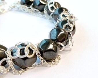 Hematite Bracelet - Statement Bracelet - Sterling Silver Chain Jewelry - Gemstone Jewellery - Gray