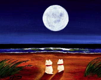 White Westie West Highland Terrier Dog Beach MoonACEO Folk Art PRINT of Todd Young painting