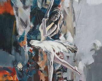 Romantic Wall Art Painting of Dancer. Valentines Day Gift for Girlfriend. Romantic Gift Ideas for Wife. Figure Canvas Art Ballerina Painting