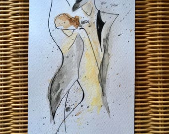 Tango 2. Watercolour orignal not print, art. Dance. 12cm x 21cm.