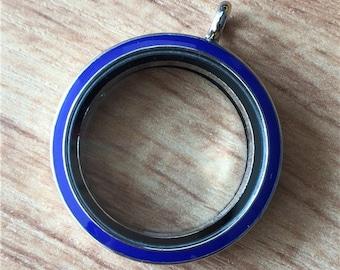 30mm Blue Enamel Living Floating Locket, Living Glass Lockets, Living Memory Locket