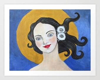Whimsical Folk Art Sun Goddess Angel Painting