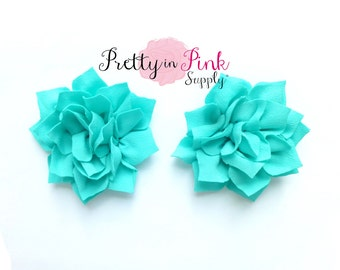Aqua Kanzashi Flower- You Choose Quantity- DIY Headband Supplies- Flower- Wholesale- By the Piece- Supply Shop- Applique- Prettyinpink