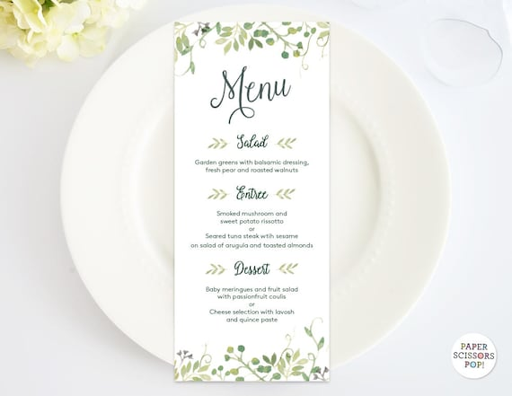 wedding dinner menu template