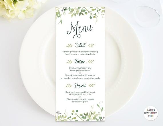 Wedding Menu Template Leafy Menu Template Menu Card Green