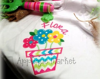 Machine Embroidery Design Applique Flower Pot  INSTANT DOWNLOAD
