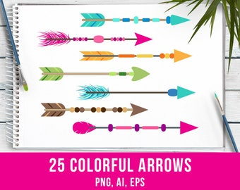 25 Colorful Arrows Clipart, Tribal Arrow Clipart, Boho Arrows Clipart, Arrow Graphics, Wedding Clipart, Native American, Commercial Use