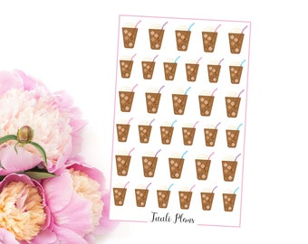 Planner stickers: iced coffee | Perfect for your filofax / erin condren planner etc