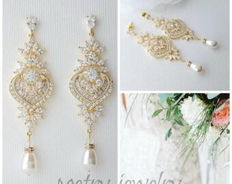 Gold Bridal Earrings, Long Crystal Drop Earrings, Crystal Chandelier Wedding Earrings, Swarovski Pearls, Gold Wedding Jewelry, Rosa