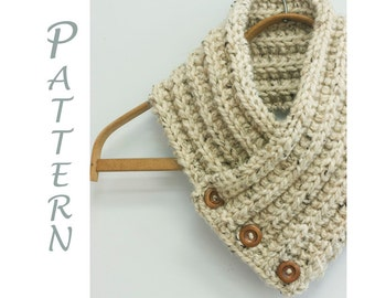 Buttoned Scarf Knitting Pattern, Instant Download,  Scarf PDF Pattern, Ribbed Scarf,  Knit Scarf Pattern, Chunky Scarf Pattern