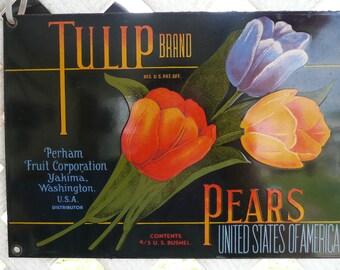 TULIP brand PEARS shipping crate art porcelan metal sign