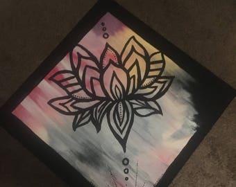 10 x 10 Handpainted Wood Panel - Lotus