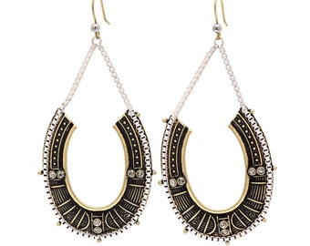Tribal Silver and Matte Gold  Hooped Earrings