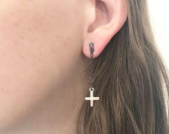 Long Earrings, Silver Earrings, Dangle Stud Earrings, Geometric Earrings, Everyday Earrings, Dangle Studs, Minimalist Earrings, Plus Jewelry