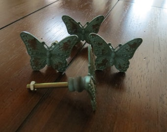 Butterfly Knobs/ Butterfly Drawer Knobs / Drawer Pulls/ Shabby Chic/ Rustic/ Metal Knobs/ Drawer Handles/ Nursery