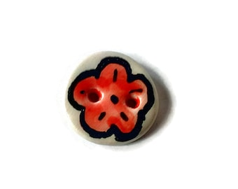 Red flower button, round ceramic button, art button, hand made clay button for sewing, collectible button, Spring button, two hole button