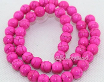 6mm & 8mm Hot Pink Round Turquoise Beads,Fushia Turquoise Beads,One Full Strand,Turquoise Beads,Gemstone Beads--BT031