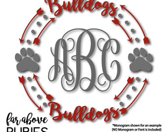 Bulldogs Paw Print Monogram Wreath (monogram NOT included) Arrows - SVG, DXF, png, jpg digital cut file for Silhouette or Cricut