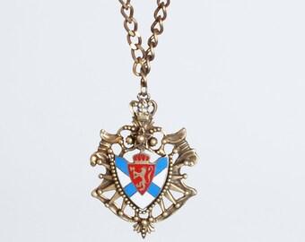 Vintage 50s 60s Heraldic Enamel Blue Red Enamel Lion Crest Pendant Necklace Pendant