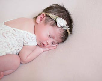 Lace Newborn  V BACK Romper photo prop with matching feather headband newborn photo prop romper