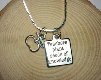 Teachers plant seeds of knowledge necklace gift for her gift for teacher charm helpers aides educators professors instructors counselors