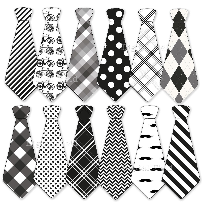 Necktie clip art set tie clip art printable black white for Tie Clip Art Black And White  55nar