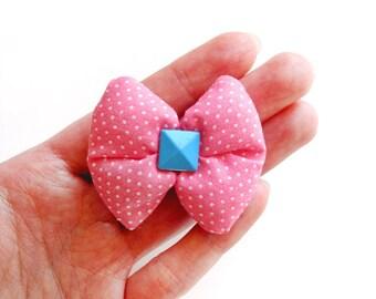 Polka Dot Pink Puffy Bow Hair Clip
