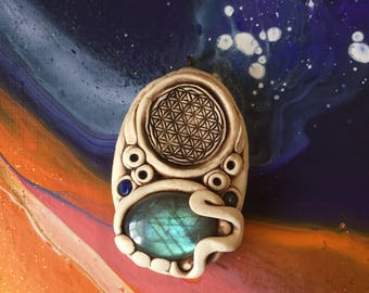 Flower of Life, Lapis Lazuli & Labradorite Necklace, Sacred Geometry