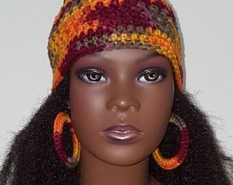 Autumn Leaves Crochet Skullcap Beanie and Earrings by Razonda Lee Razondalee