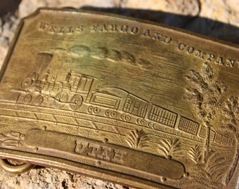 Wells Fargo and Company Utah Vintage Brass Belt Buckle Part of the Tiffany Belt Buckle Hoax