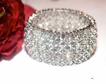 crystal wedding bracelet, bridal bracelet, crystal bracelet, wide wedding bracelet, Swarovski crystal bracelet, cuff style bridal bracelet